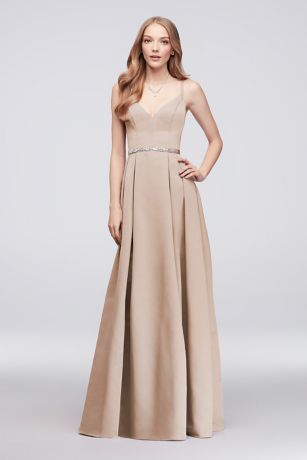 Faille Bridesmaid Ball Gown with Jewel Sash