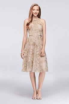 Short A-Line Halter Dress - Oleg Cassini