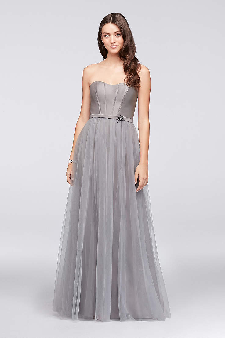 Mikado And Tulle Long Bridesmaid Dress