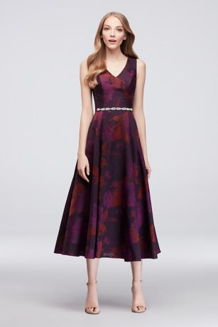 Soft & Flowy;Structured Oleg Cassini Tea Length Bridesmaid Dress