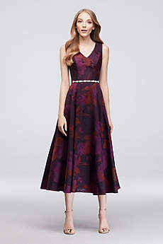 Soft & Flowy Oleg Cassini Tea Length Bridesmaid Dress