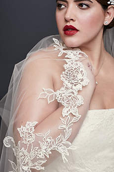 English Rose Lace Chapel-Length Veil