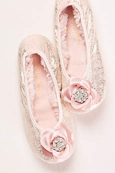 Pretty You London Pink Slippers (Ballerina Slipper with Crystal Embellished Rose)