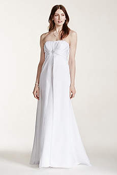 Strapless Satin Gown with Pleated Bodice