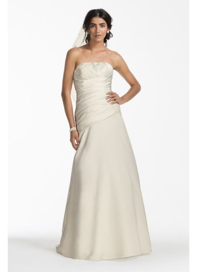 Satin A-line Wedding Dress with Ruched Bodice | David\'s Bridal