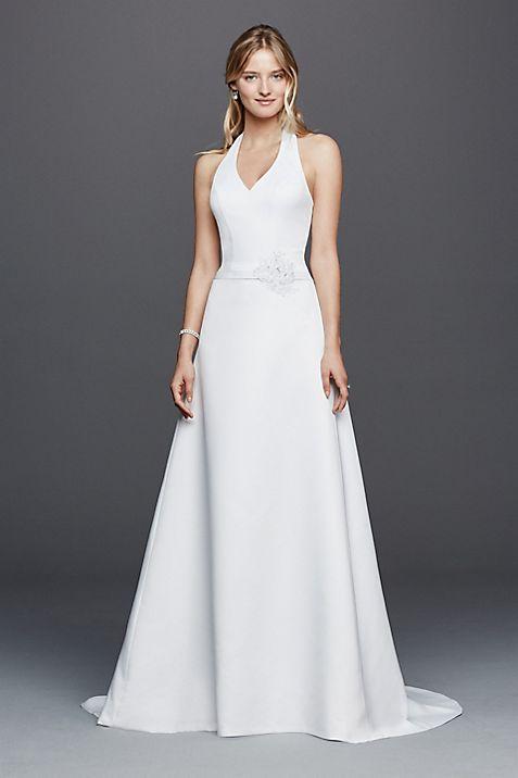 Halter V-neck Wedding Dress with Flower Detail   David\'s Bridal