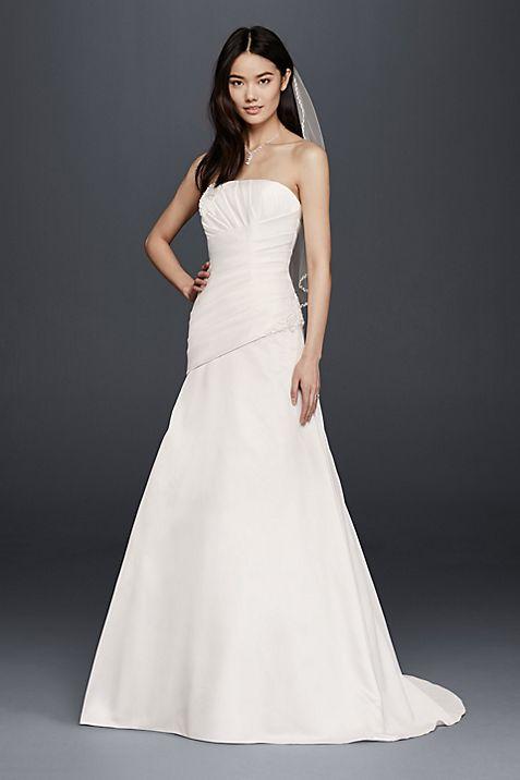 As-Is Strapless Satin A-Line Wedding Dress | David\'s Bridal