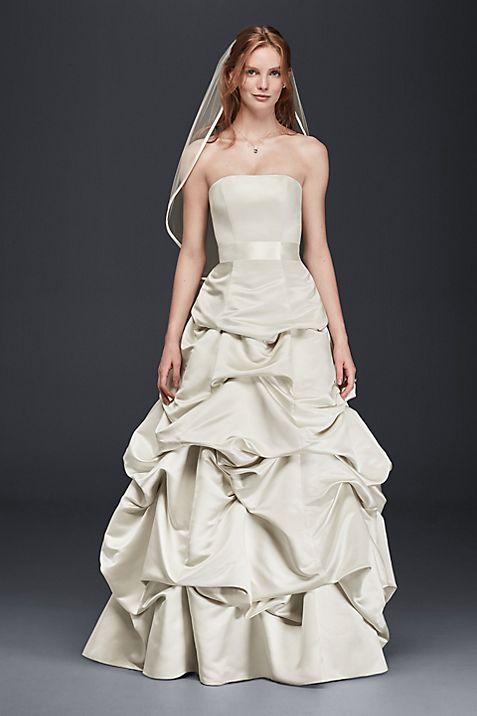 Drop-Waist Satin Ball Gown with Pickup Skirt | David\'s Bridal