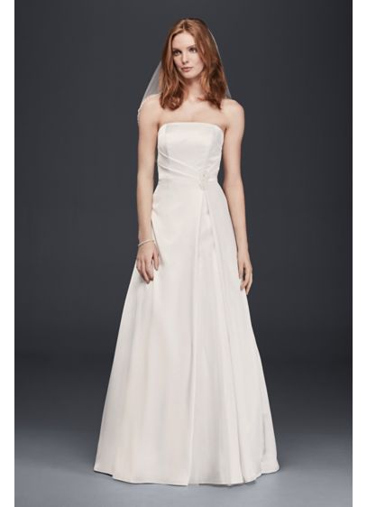 Satin Strapless Beaded Waist A-Line Wedding Dress | David\'s Bridal
