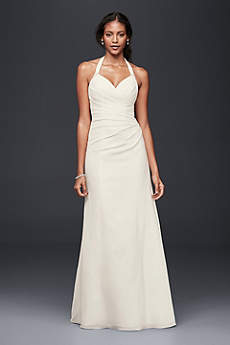 As-Is Crepe Sheath Halter Wedding Dress
