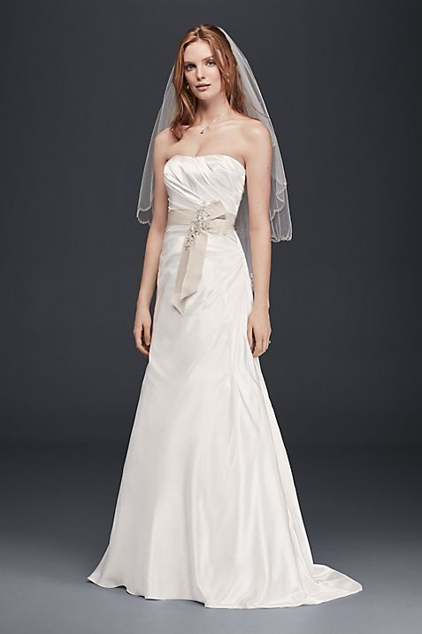 Charmeuse A-Line Strapless Wedding Dress | David\'s Bridal