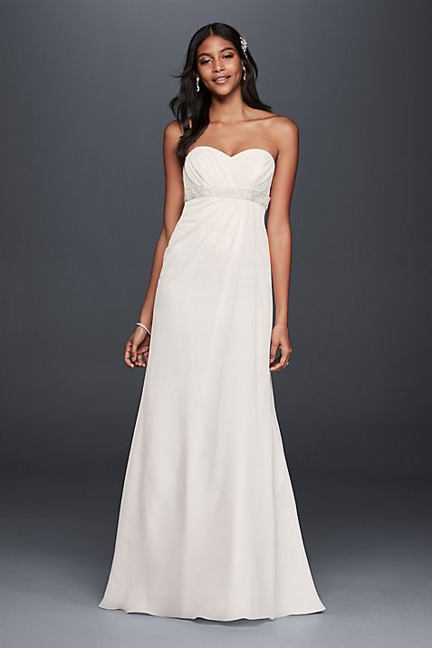 A-Line Wedding Dress with Beaded Empire Waist | David\'s Bridal