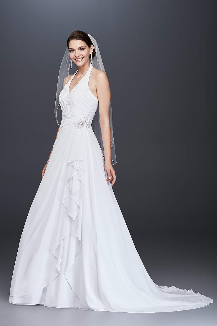 ae530d55f38 Long A-Line Wedding Dress - David s Bridal Collection