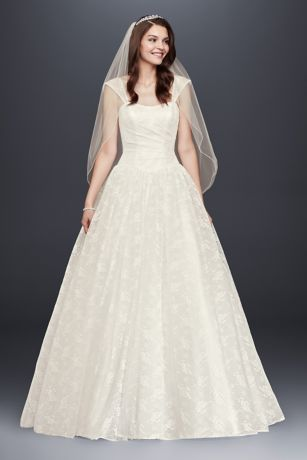 Sheer Cap Sleeve Allover Lace Ball Gown