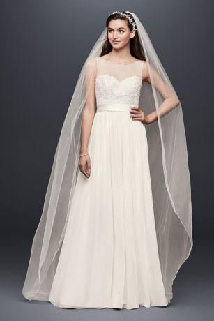 Lace and Crinkle Chiffon Sheath Wedding Dress