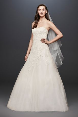 Soft Tulle Wedding Dress with Leaf Lace Applique