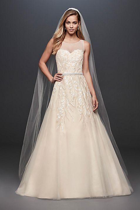 Sequin Vines Tulle Ball Gown Wedding Dress   David\'s Bridal