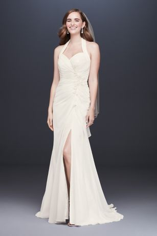 Halter Pleated Sheath Wedding Dress with Applique