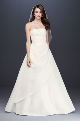 Strapless Satin Draped Skirt A-Line Wedding Dress