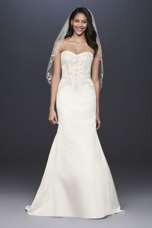 Satin Strapless A-Line Beaded Lace Wedding Dress