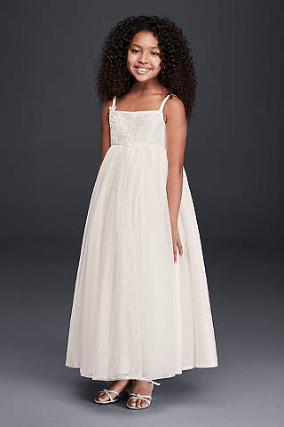 Cheap flower girl dresses davids bridal tank full tulle ball gown with lace applique mightylinksfo