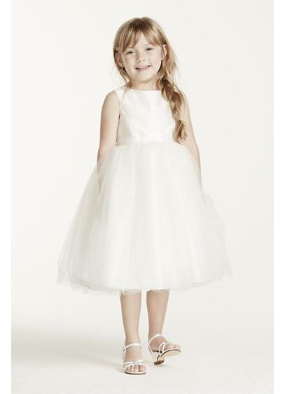 Flower Girl Dress with Tulle and Ribbon Waist   David\'s Bridal