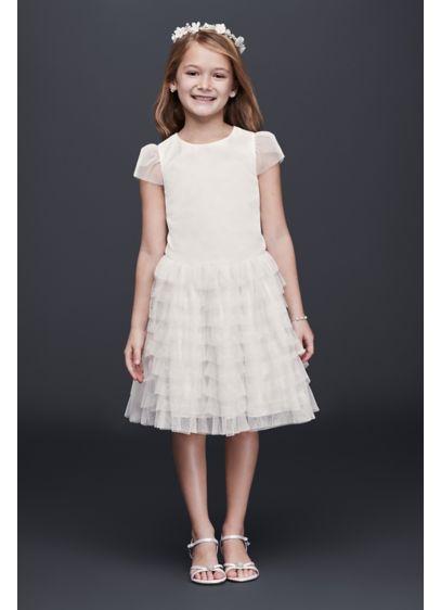 Tulle flower girl dress with tiered ruffle skirt davids bridal short a line cap sleeves dress davids bridal mightylinksfo