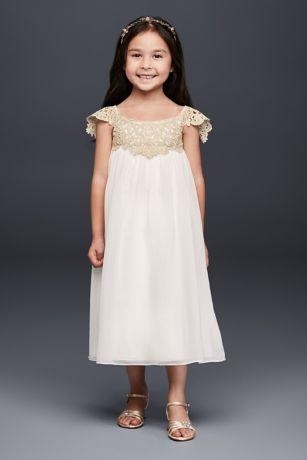 Metallic Crochet and Chiffon Flower Girl Dress