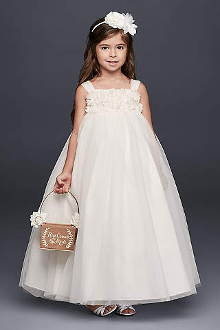 Colored flower girl dresses davids bridal long ballgown tank dress davids bridal mightylinksfo