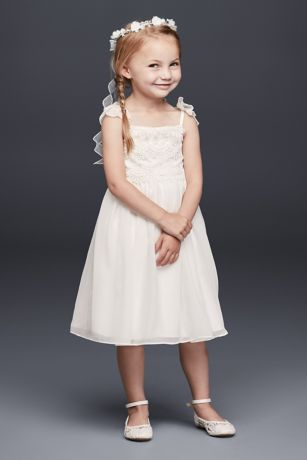 4df93f8df2c Chiffon Flower Girl Dress with Tiered Lace Bodice · David s Bridal