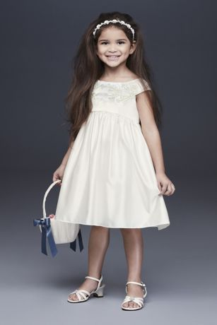 7dd14d8e7dc Embroidered Satin Floral Flower Girl Dress