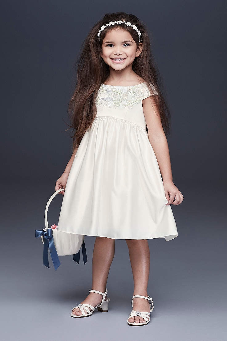 9aeda22b629ec Embroidered Satin Floral Flower Girl Dress