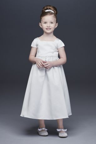 45a57a2b9f Satin A-Line Flower Girl Dress with Cap Sleeves · David s Bridal