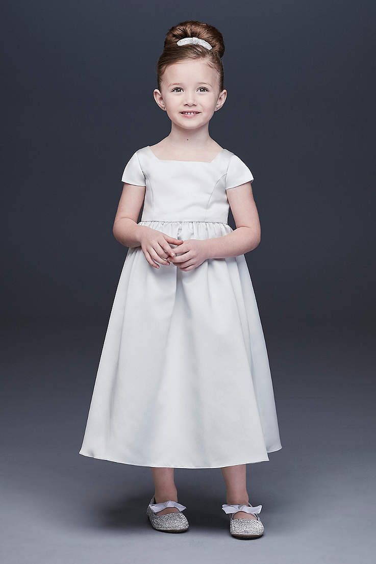 853216666 Satin A-Line Flower Girl Dress with Cap Sleeves