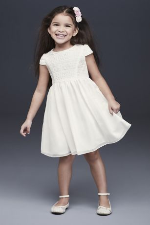 4058e88ed2 Lace Bodice Cap Sleeve Flower Girl Dress · David s Bridal
