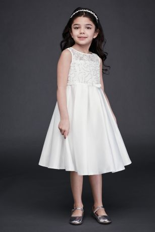 Lace and Satin Flower Girl Dress with Bow Sash