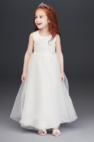 Beaded Applique Flower Girl Dress with Tulle Skirt