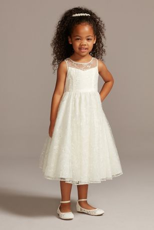 Allover Sequin Floral Lace Tank Flower Girl Dress