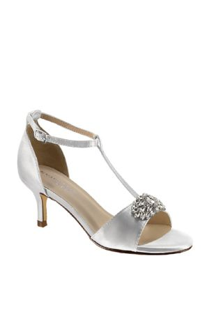 Benjamin Walk Black;Blue;Brown;Green;Grey;Ivory;Orange;Pink;Purple;Red;White;Yellow Heeled Sandals;Sandals (Satin T-Strap Sandals with Crystal Embellishment)