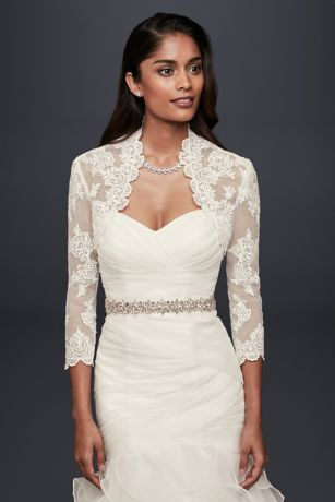 Beaded Lace 3 4 Sleeve Jacket David S Bridal