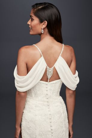 Beaded Chiffon Topper with Swag Sleeves