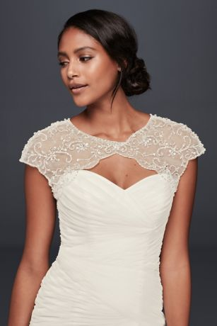 Floral-Beaded Scalloped Dress Topper