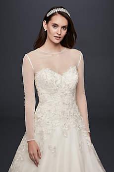 Long-Sleeve Tulle Wedding Dress Topper