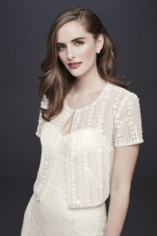Short-Sleeve Tulle Jacket with Floral Beading