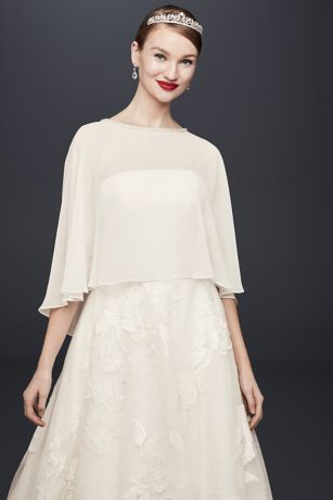 Chiffon Capelet with Beaded Neckline