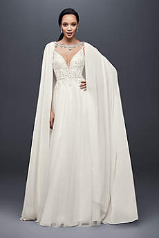 Long Chiffon Cape with Beaded Neckline
