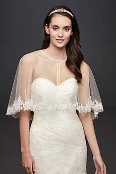 Tulle Cape with Beaded Lace Applique Trim