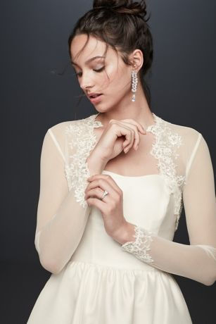 Beaded Lace and Tulle Long Sleeve Jacket