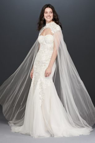 Long Tulle Cape with High-Neck Lace Detail
