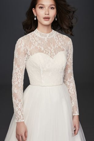 Long Sleeve Lace Mock-Neck Wedding Dress Topper